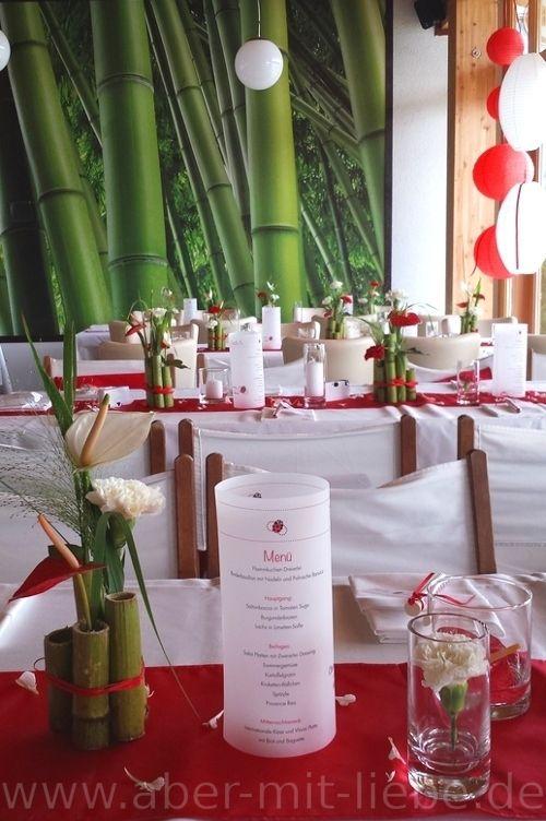 Tischdeko Bambus Hochzeit Tischgestecke Tischdeko In Rot Weiss