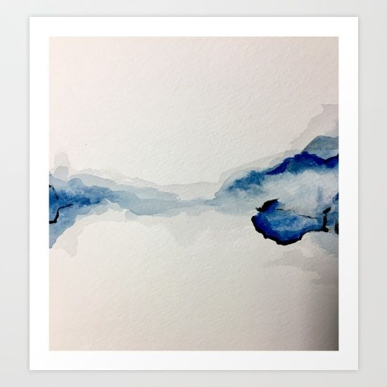 Abstract Blue Watercolor Art Print by Sophie_lemieux. Worldwide shipping available at Society6.com. Just one of millions of high quality products available.