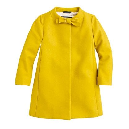 Girls' wool-cashmere bow coat