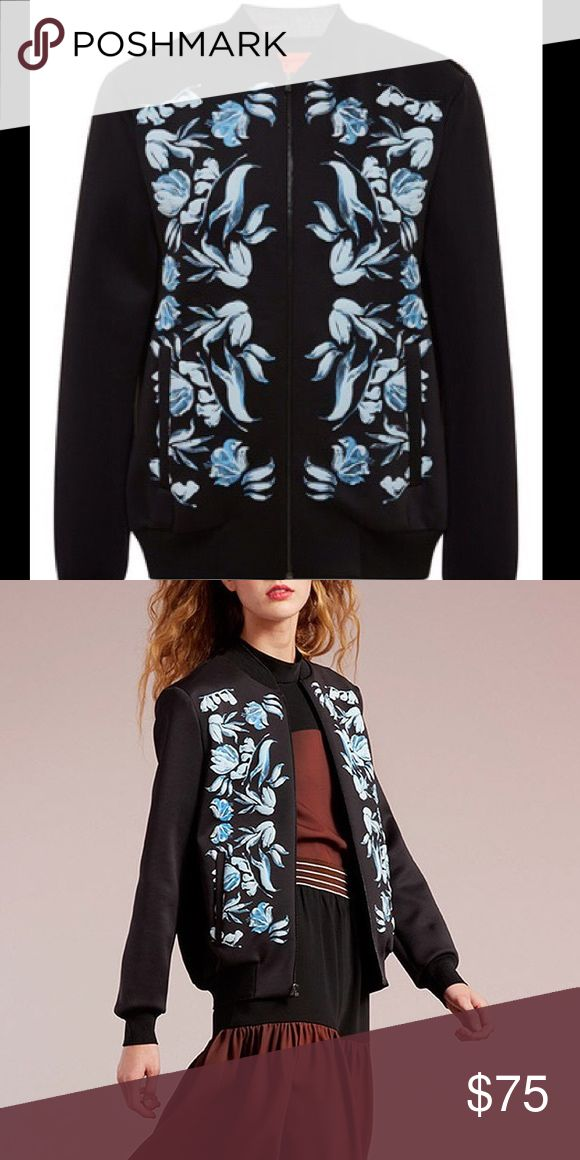 Clover Canyon Puff Paint bomber jacket Black neoprene jacket with a blue floral pattern. Size XS. No tags but never worn! Clover Canyon Jackets & Coats