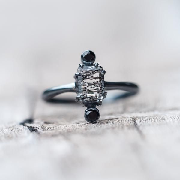 Shield // Rutile Quartz and Black Tourmaline Ring - Gardens of the Sun Jewelry    This black rutile quartz ring combines the powerful healing properties of black tourmaline and quartz crystal.