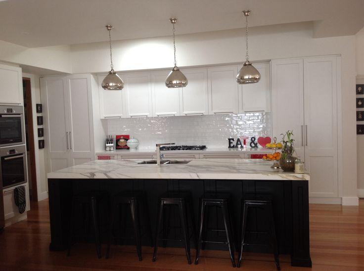 Black And White Bistro Style Kitchen With Calacutta Marble White Handmade Spanish
