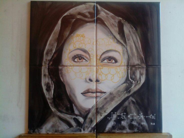 hand painted tiles by Paula Teresa
