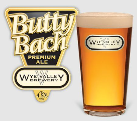 Butty Bach pump clip and pint, A burnished gold spremium ale. Full bodied, smooth and satisfyinh.  4.5 ABV #realale