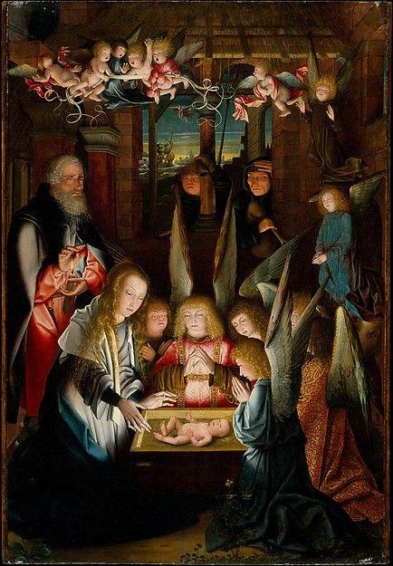 """The Adoration of the Christ Child""  --  Circa 1515  --  Follower of Jan Joest of Kalkar  --  Netherlandish  --  Oil on wood  --  The Metropolitan Museum of Art"