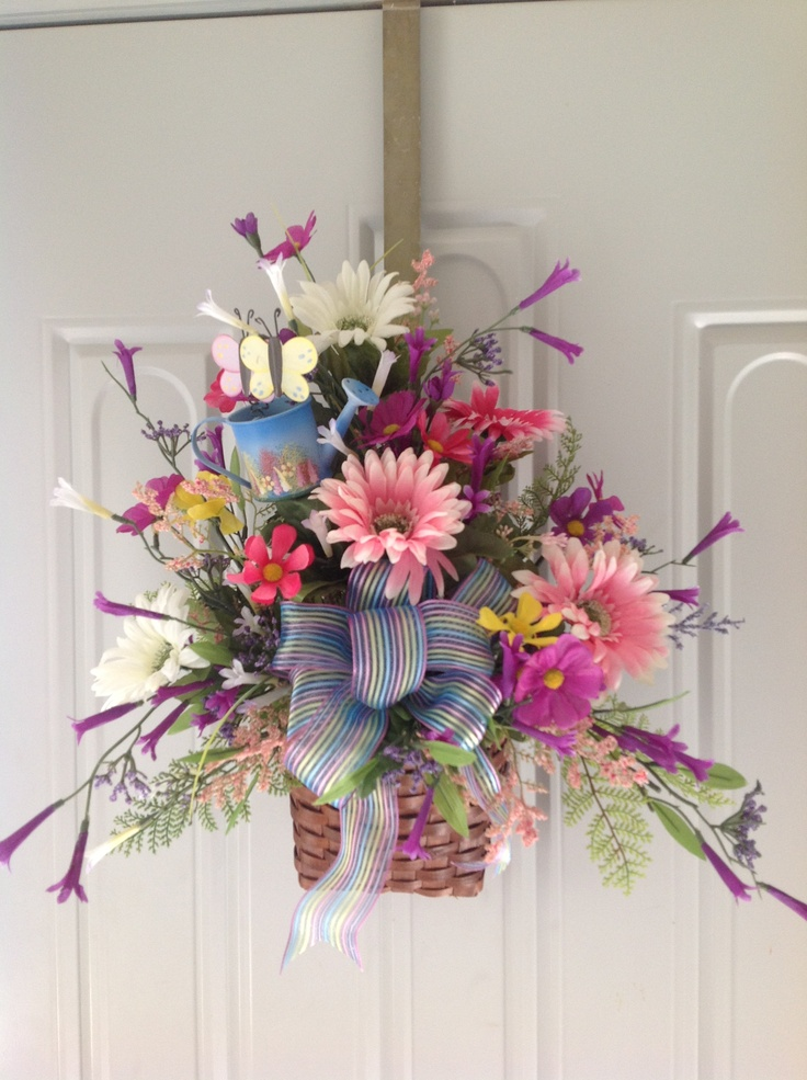Spring basket things i paint and make look me up on Spring flower arrangements for front door