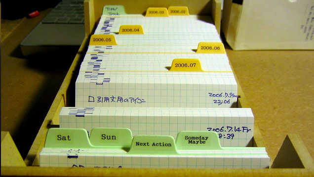 The Pile of Index Cards System Efficiently Organizes Tasks and Notes - Old Fashioned But So Cool.