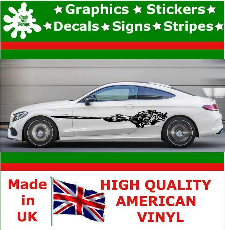"""10"""" High Car Side Stripes Graphic Decal Vinyl Stickers Van Auto Rally Race F1_43"""