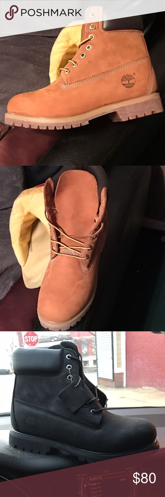 Black Timberland  Butter Timberlands Black Timberland $90 Sizes 7-13 Butter Timberlands $80 Sizes 7-14 Men sizes  No Toddlers  2for$150 (2butters) 2for$160 (1butter,1black) 2for$170 (2black) Read Less Timberland Shoes Boots