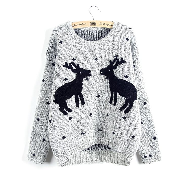 Cute And Fashion Two Giraffes Pullover Sweater -