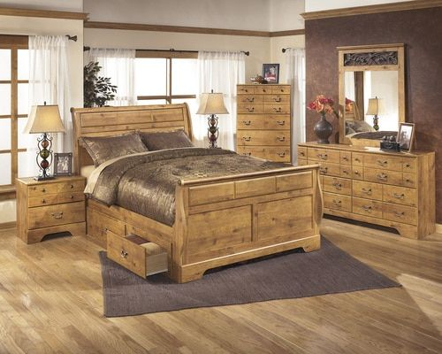 Bittersweet Light Brown Queen Sleigh Bed With Storage In