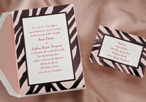 Zebra Print Wedding Invitations By Birchcraft