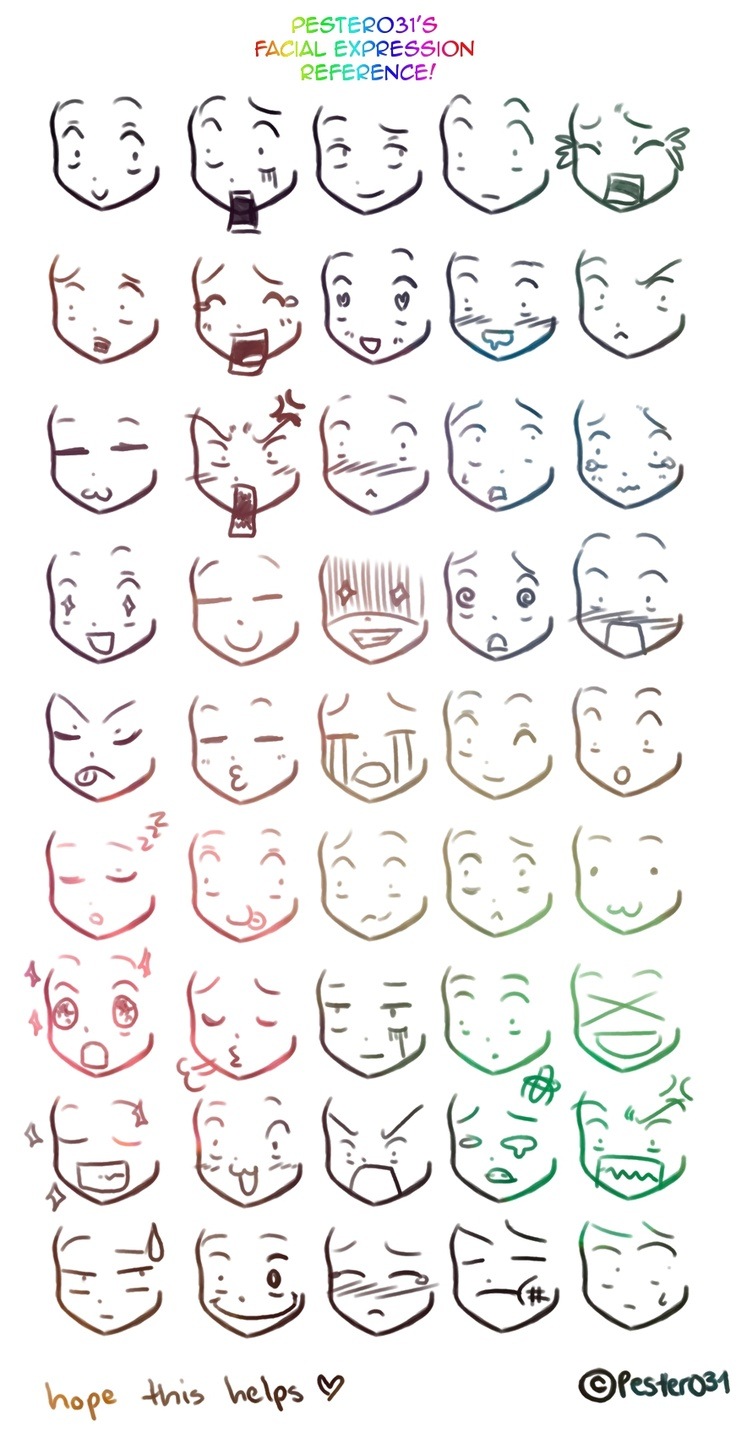 Anime Expressions Reference by Pester031.deviantart.com
