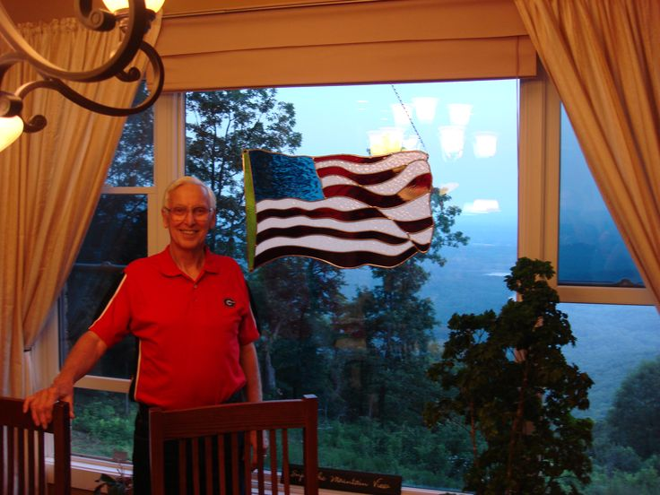 Auctioned off this stained glass flag for a 4th of July fundraiser. All proceeds went to a local home for children.