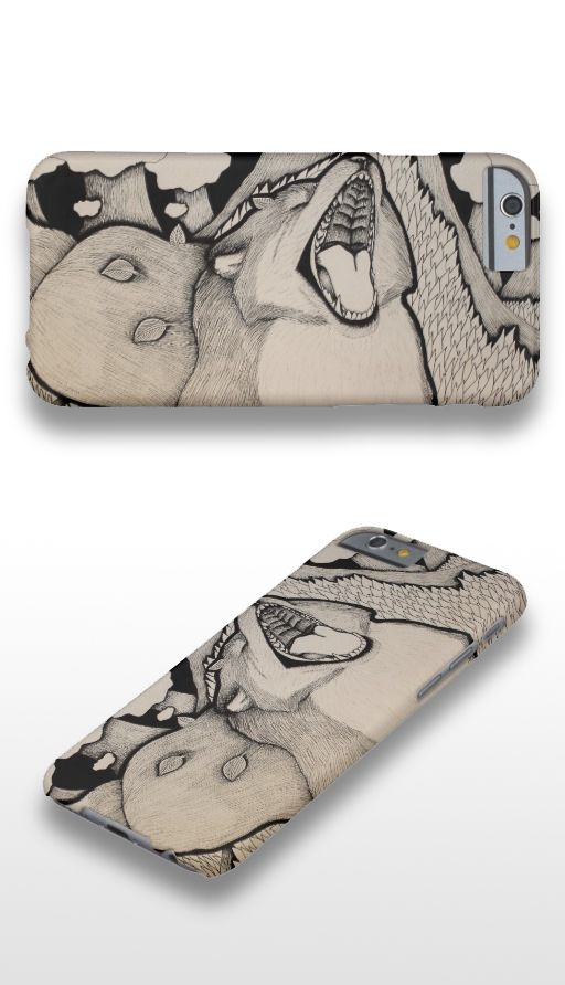 """Crybaby"" Black and white illustrated fox iPhone 6 Case"
