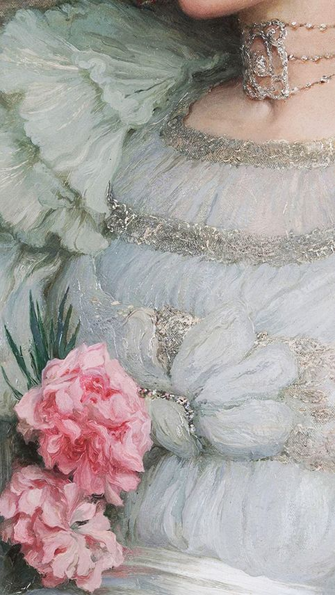 Traveling through history of Art...Portrait of Lady Hillingdon, detail, by Sir Francis Bernard Dicksee, 1904.