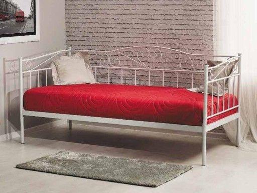 łóżko Birma 90x200 Białe Metalowe Pojedyncze Allegro I