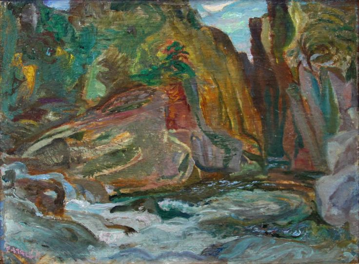Frederick Varley, 'Cheakamus Gorge Near Lynn Valley' at Mayberry Fine Art 12 x 15 (1949)