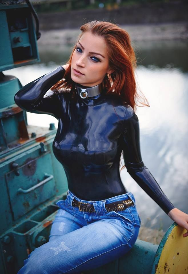 Gia Felino Black Latex Denim Pants Prurient