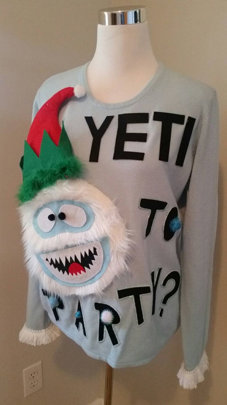 Ugly Christmas Sweater Yeti To Party 3d by UglySweatersForU
