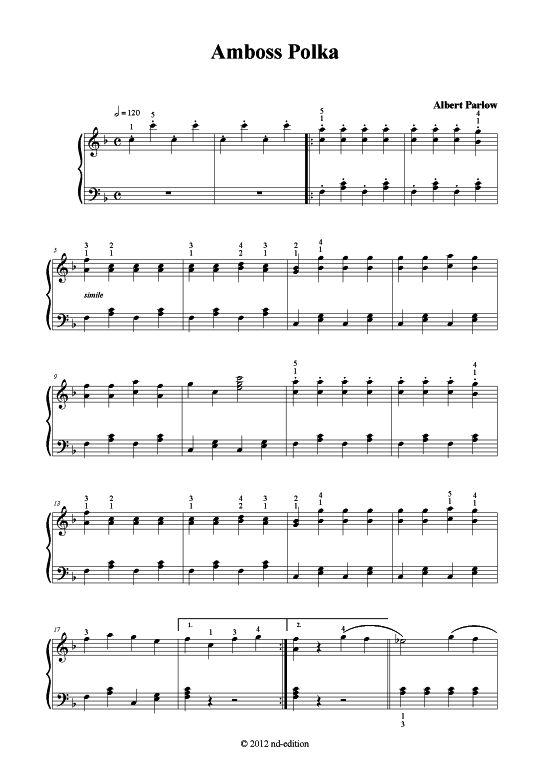 Amboss Polka (Klavier solo leicht) Albert Parlow (bearb.) >>> KLICK auf die Noten um Reinzuhören <<<