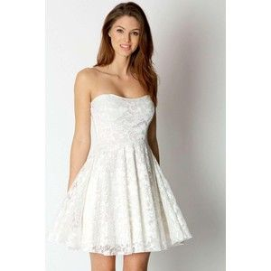 Boohoo Night Lulu Lace Bandeau Skater Dress