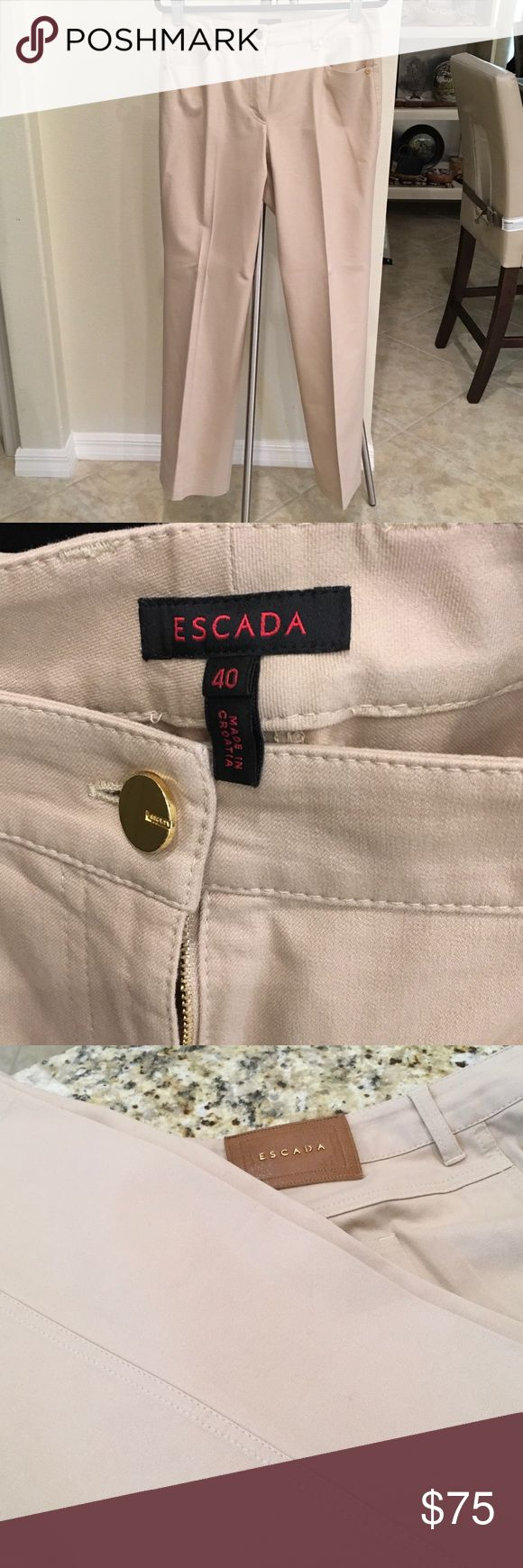 """Escada 5 Pocket Stretch Denim Jeans Beige Size 40 Authentic Escada jeans in stretch denim (95% cotton) with 5 pockets. Stitch detailing down legs; mid rise, straight leg. Inseam is about 32"""". Very good condition with no rips, tears, stains. Fresh from dry cleaners and a non smoking home. Escada Jeans"""