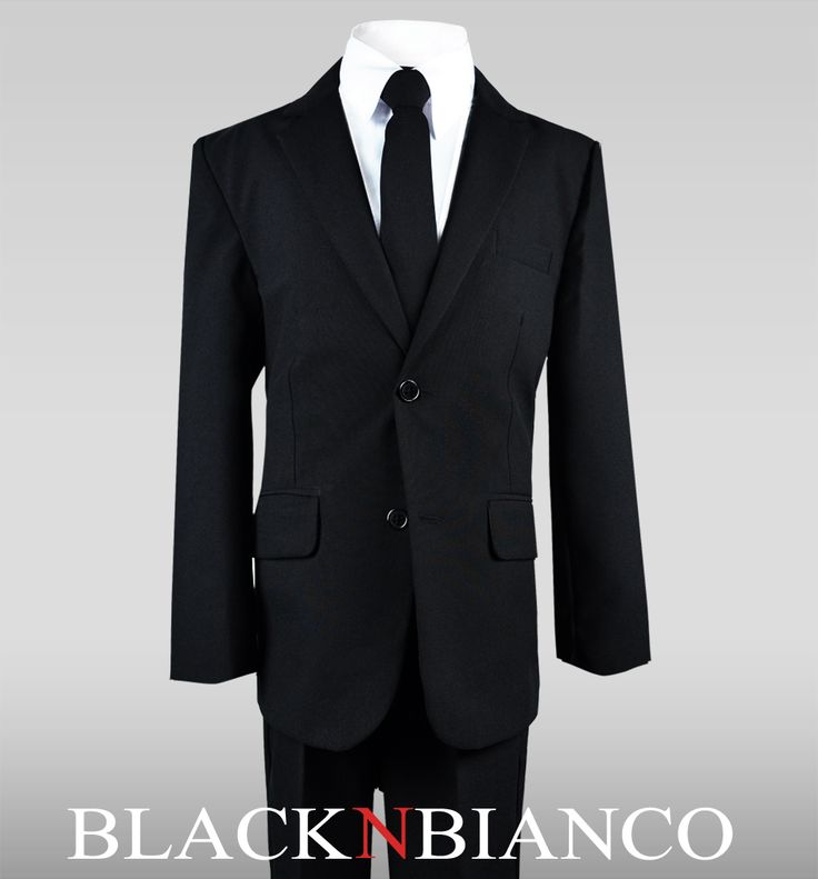 Sharp and Modern Boys Black Suit with a Skinny Black Tie. A great outfit for your ring bearer.