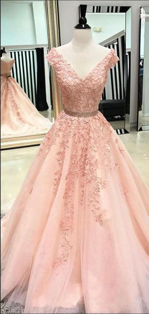 Great A-Line Cap Sleeves V-Neck Peach Tulle Long Prom Dresses,VPPD613 – VeryProm