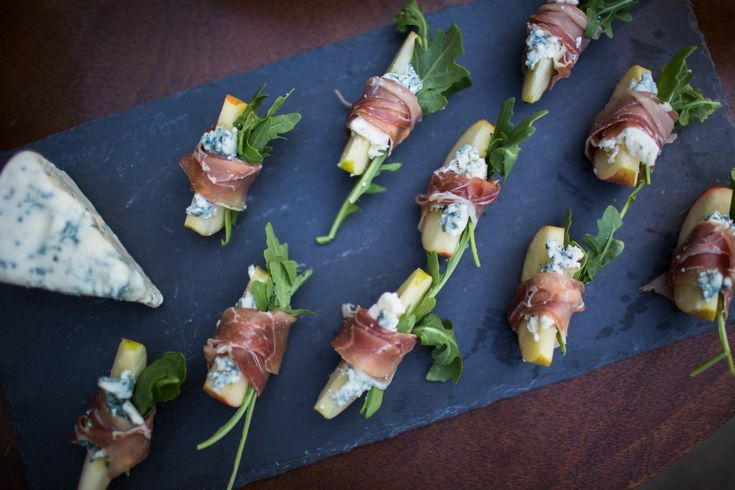 Proscuitto wrapped apples with blue cheese. Friendsgiving appetizer ideas.