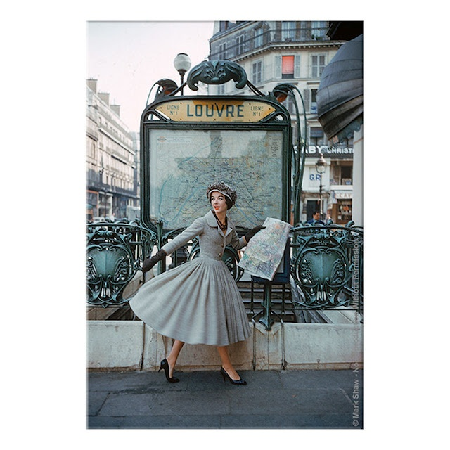 Christian Dior dress 1957, Paris Louvre Metro Station photography by Mark Shaw
