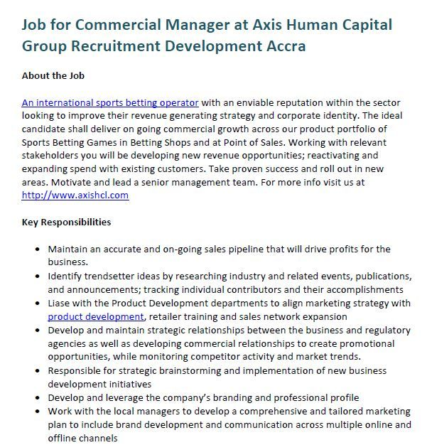 Job for Commercial Manager at Axis Human Capital Group Recruitment - commercial manager job description