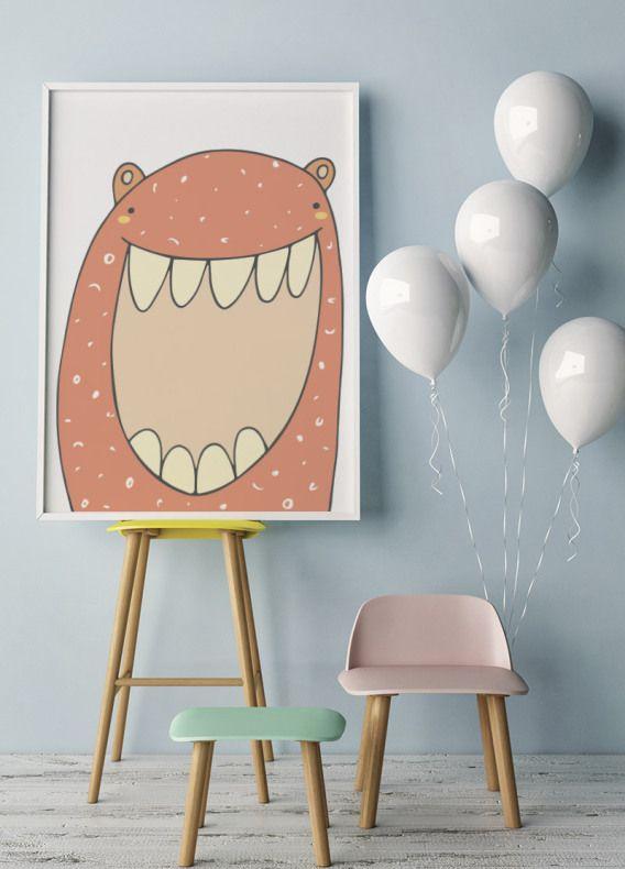 Barnposter med ett Gulligt Rött Monster. Fina barntavlor och posters till ditt barnrum   Archiveseven.com