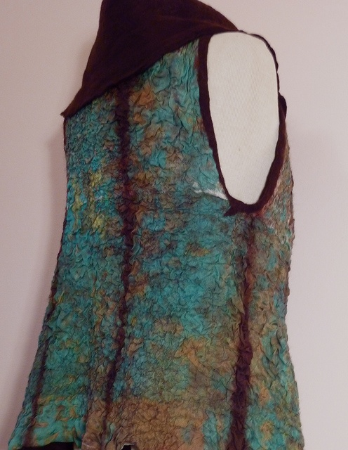 Turquoise & brown nuno felted vest
