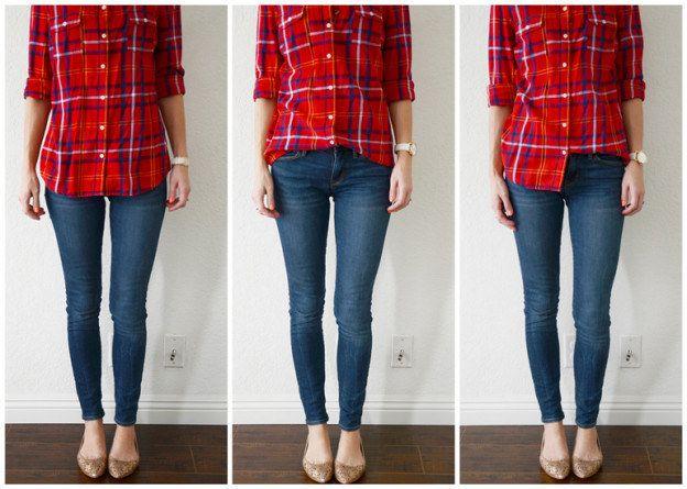 Rentrez seulement un côté de votre chemise pour un effet très décontracté. | 16 façons d'attacher, retrousser et entortiller vos vêtements comme un(e) vrai(e) styliste