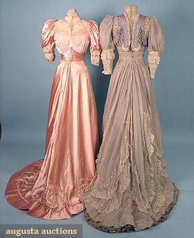 "2 belle epoch Paris tea gowns 1 2-piece pink satin trimmed w/ cream lace, Paris label, B 36"", W 22.5"", Skirt Front L 41"", Back L 55"", excellent; 1 trained 1-piece dusty lavender w/ inserts of Val lace, trimmed w/ cut steel beads & baubles,"
