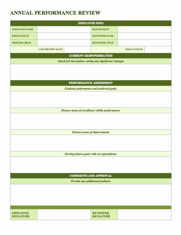 Employee Performance Evaluation Form Excel Fresh Free Employee