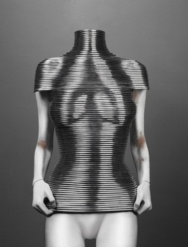 "Shaun Leane for Alexander McQueen  ""Coiled"" Corset  The Overlook, autumn/winter 1999–2000  Aluminum  Courtesy of Shaun Leane"