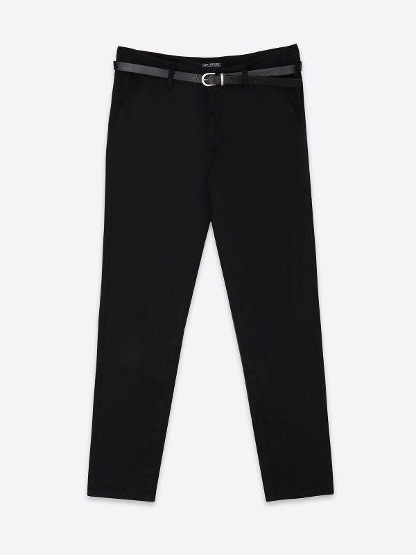 spodnie długie damskie chinosy czarne - SSP2475 TOP SECRET