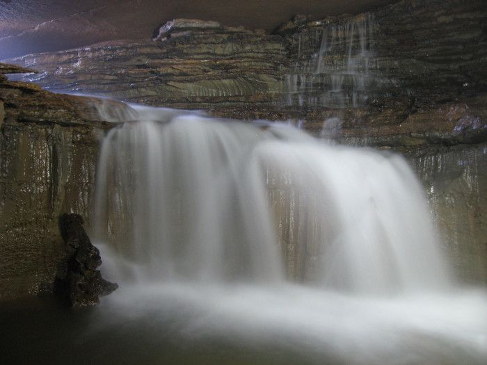 1. West Virginia's underground waterfalls-Sharpe's Cave in Pocahontas County