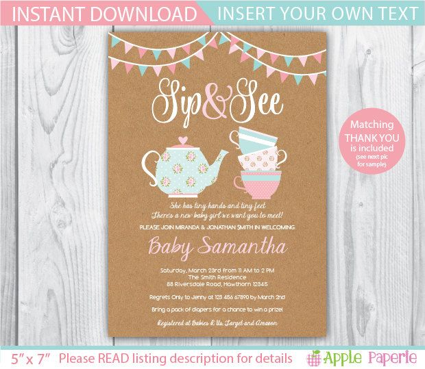 shabby chic baby shower invite / sip and see baby by TinyConfetti