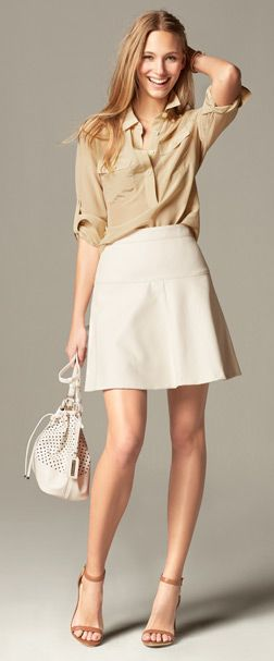 latte Silk Utility Blouse, ivory Fluted Skirt, white Dalia Bucket bag and natural Emalee ankle strap heeled Sandal | Banana Republic: