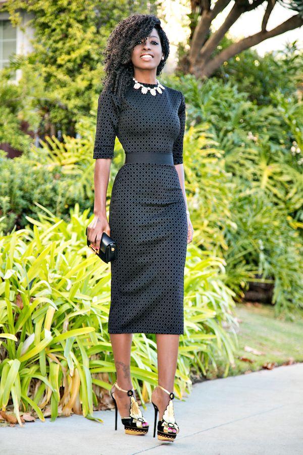 Black Diamond Print Midi Dress