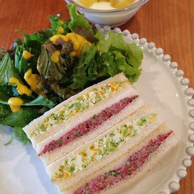 コンビーフ&ブロッコリー卵サンド