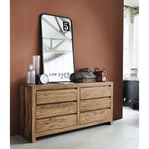 Solid sheesham wood chest of drawers W 160cm