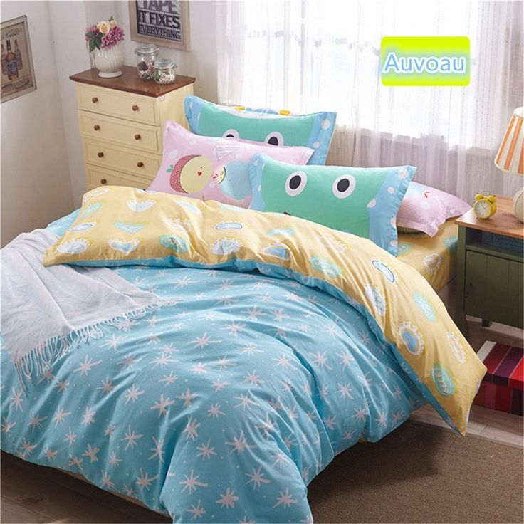 Auvaou Simple Cartoon Bedding Children Cartoon Duvet Cover Set Girl Duvet Cover Set Twin Queen Size 4PC (Twin, 5) //Price: $47.27 & FREE Shipping //     #bedding