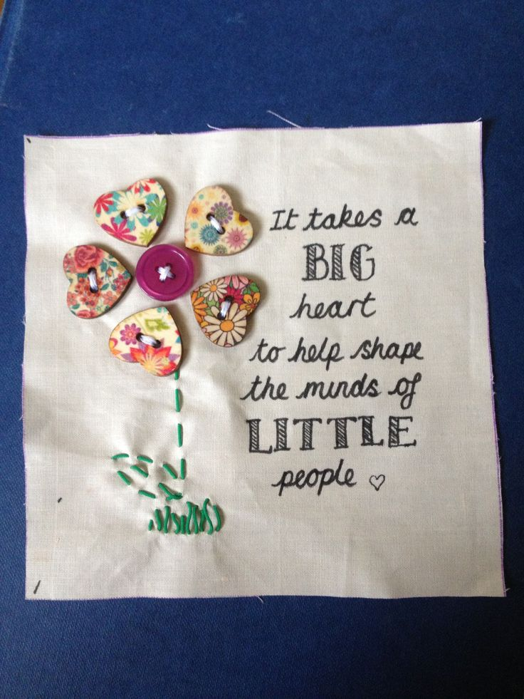 A patch I made to go with many to create a leaving gift for a Teaching Assistant at school :) I love the buttons :-) Kirstie