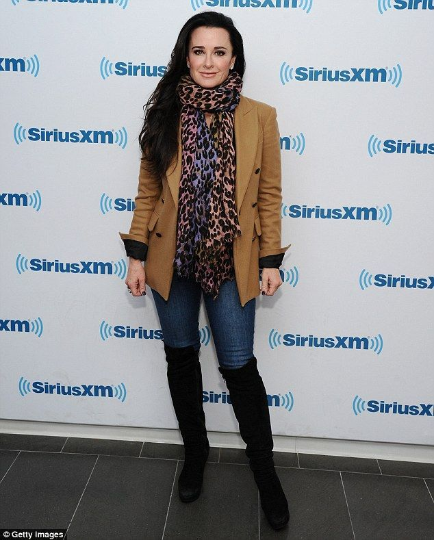 Promotional duties: Kyle Richards did the rounds on Monday ahead of the return of the The Real Housewives of Beverly Hills, Kyle also dropped by SiriusXM Studios in New York City, to chat with Andy Cohen
