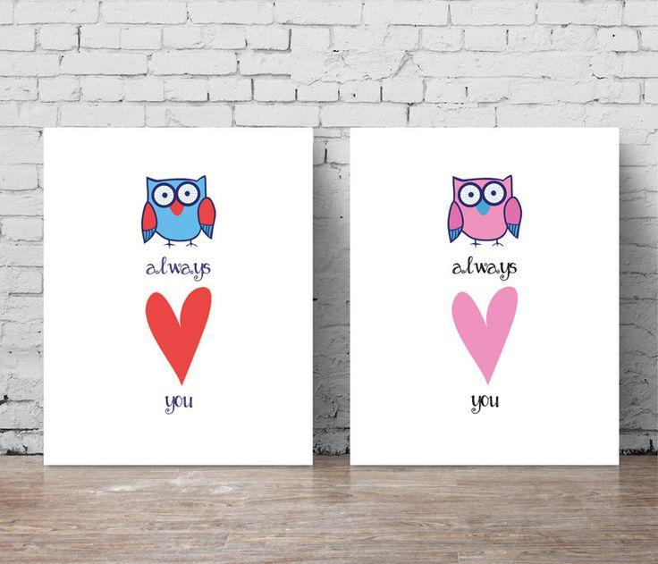 'Owl Always Love You' (Pink) Print. Nursery print. Baby print. Nursery decor. Kids room. Kids room decor. Kids print. Wall Art.