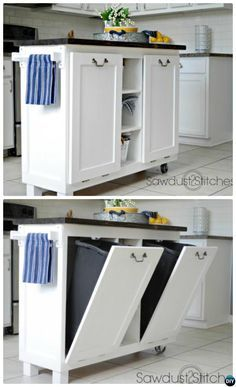 DIY Cabinet Kitchen Island with Tilt Out Trash Can-Smart Ways to Hide Your Trash Can #Kitchen. #Furniture